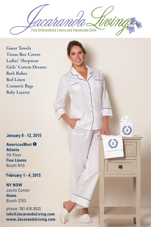 jacaranda NY NOW - America's Mart - Shows - New Products - Embroidered Linens - Customized Terry Cloth Towels