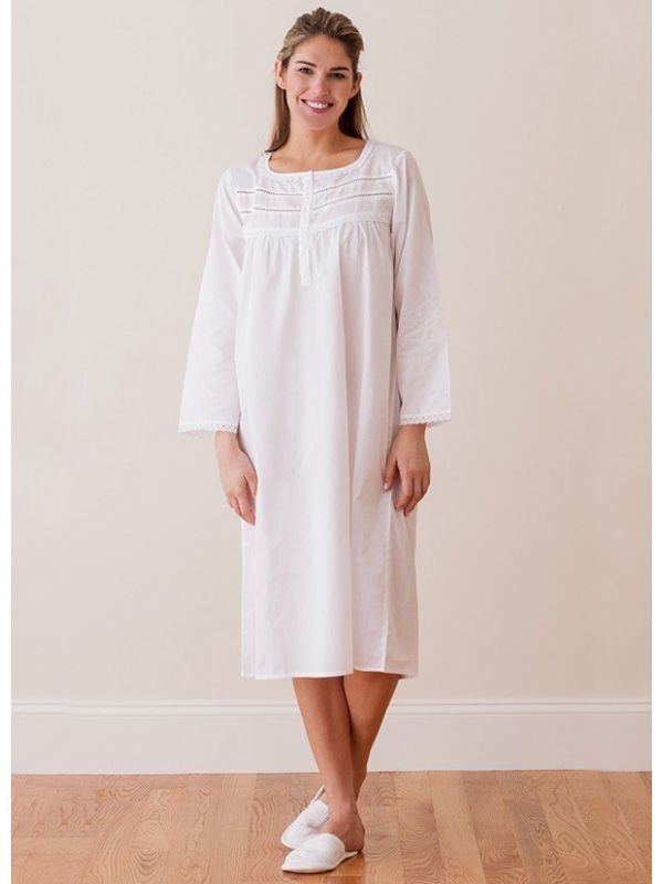 Anne White Cotton Nightgown, Lace** - EL266