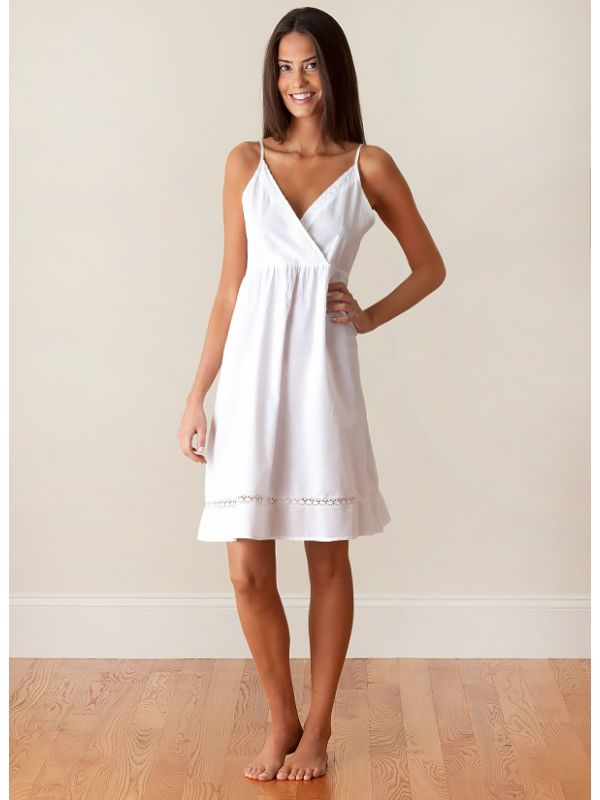 Ashlyn White Cotton Nightgown, Lace** - EL243