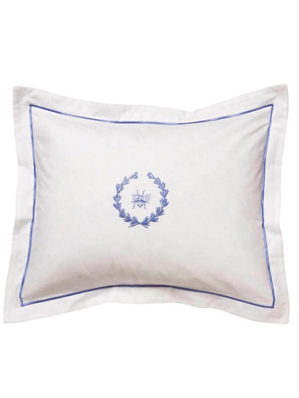 DG78-BWBL** Boudoir Pillow Cover - Bee Wreath (Blue)