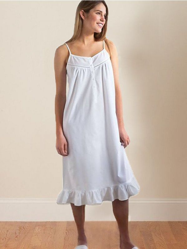 Carly White Cotton Nightgown** - EL257