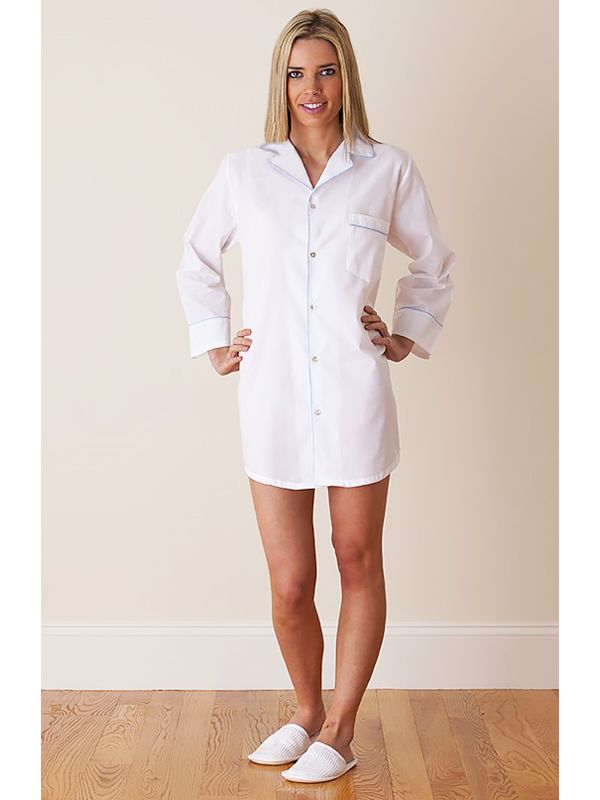 Ginny White Cotton Nightshirt, Tiffany Blue Piping** - EL246