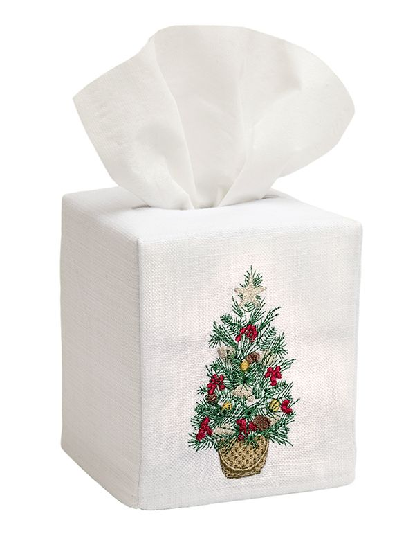 DG17-CTIB Tissue Box Cover, Linen Cotton - Christmas Tree in Basket