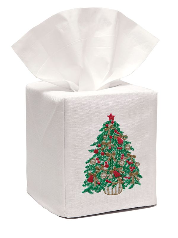 DG17-CTGR** Tissue Box Cover, Linen Cotton - Christmas Tree (Green)