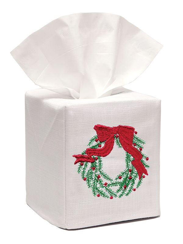 DG17-CWGR** Tissue Box Cover, Linen Cotton - Christmas Wreath (Green)