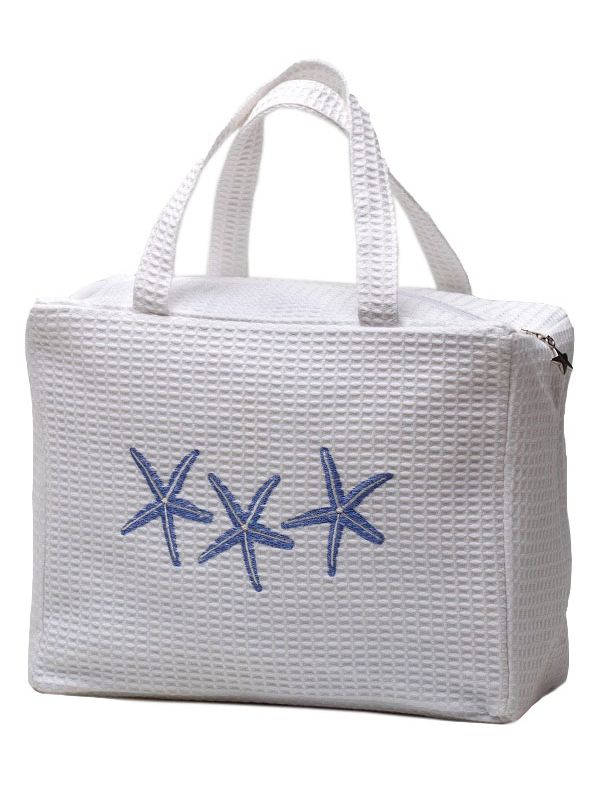 DG60-TSFBL Cosmetic Case, Waffle Weave - Three Starfish (Blue)