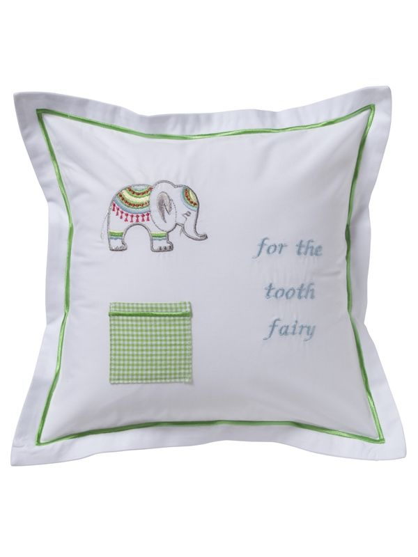 DG131-LCEL Tooth Fairy Pillow Cover - Lucky Charm Elephant (Lime)