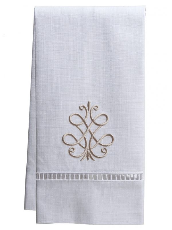 Guest Towel** - White Linen, Ladder Lace, Embroidered