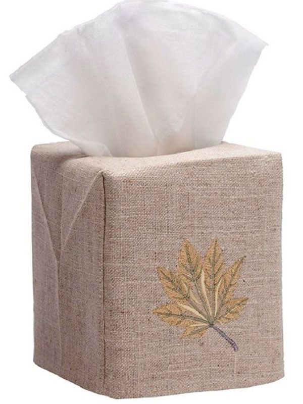 DG23-MLHG Tissue Box Cover, Natural Linen - Maple Leaf (Honey Gold)