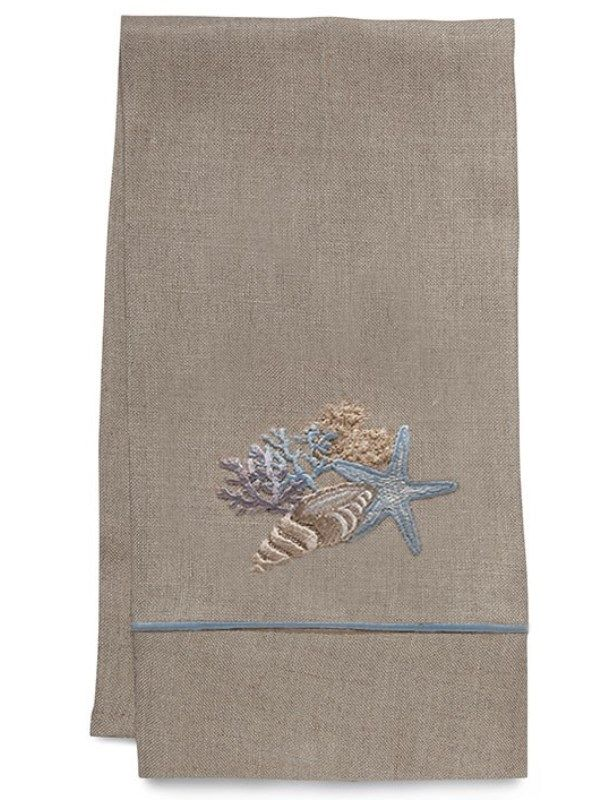 Guest Towel - Natural Linen, Satin Stitch, Embroidered