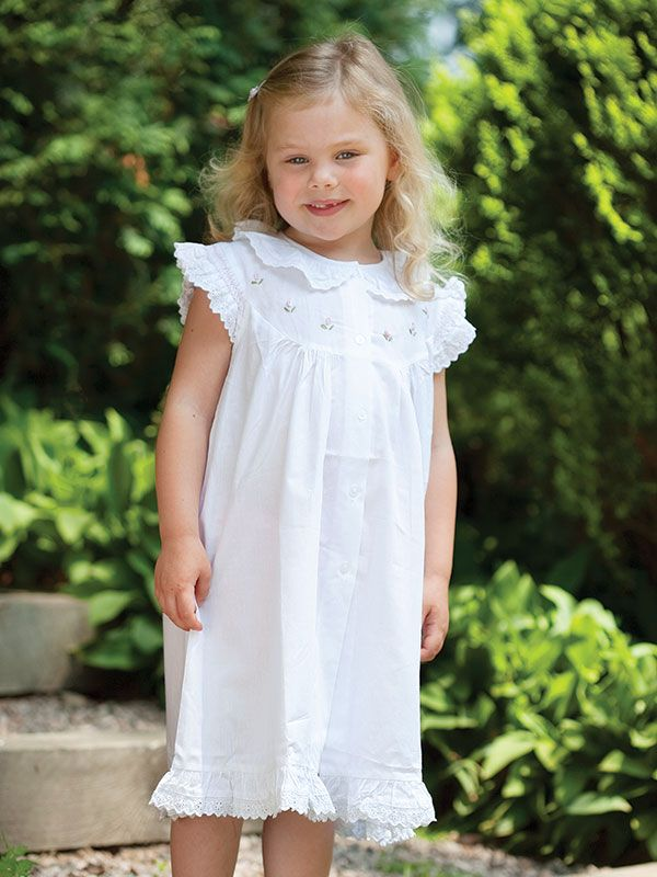 Gracie White Cotton Dress, Embroidered** - EL205