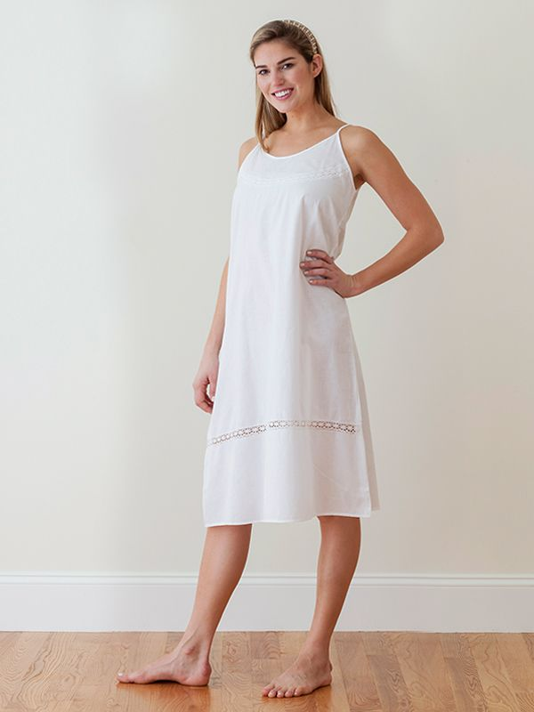 Kerry White Cotton Nightgown, French Lace** - EL226