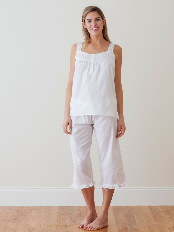 Tess White Cotton Capri Pajama Set** - EL237