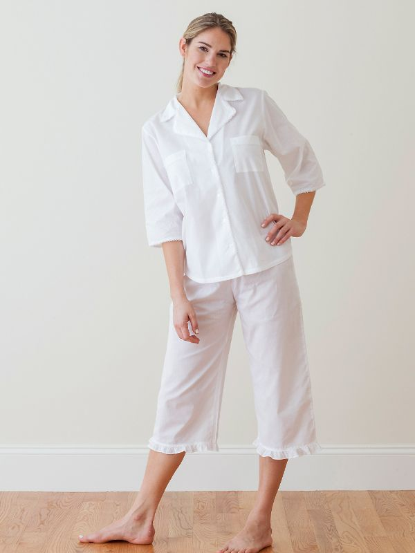 Alexandra White Cotton Capri Pajama Set ** - EL262