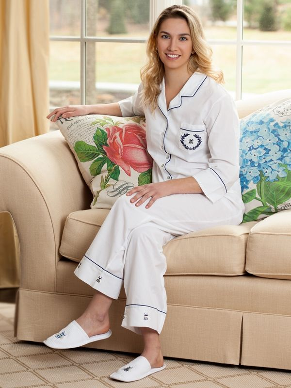 Lizzie White Cotton Pajamas, Embroidered** - EL282