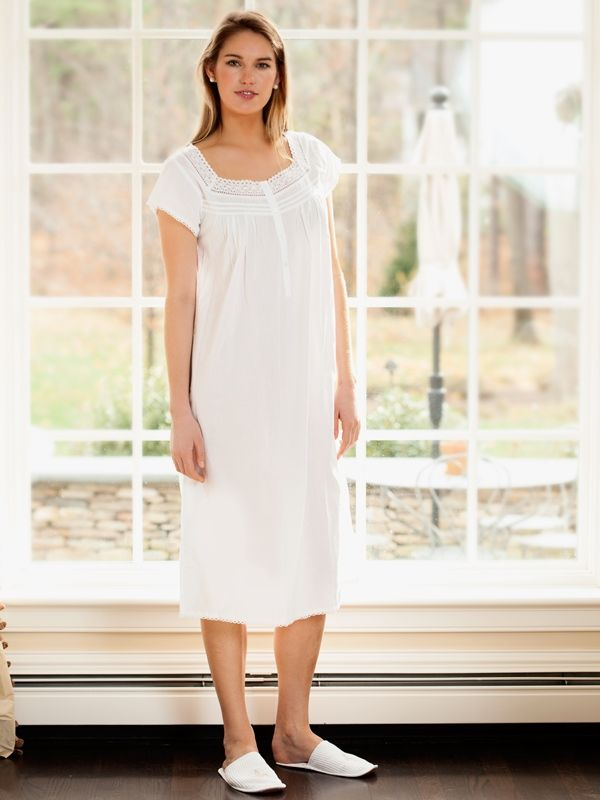 Sally White Cotton Nightgown, Lace** - EL288