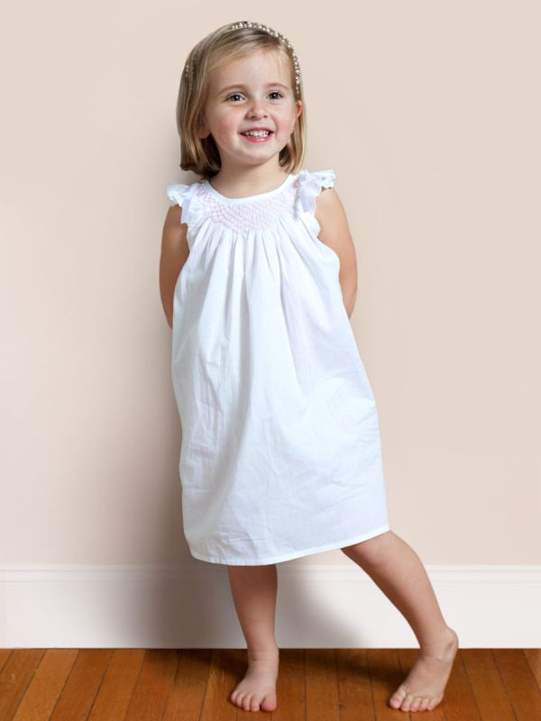 Mathilde White Cotton Dress, Smocked** - EL291