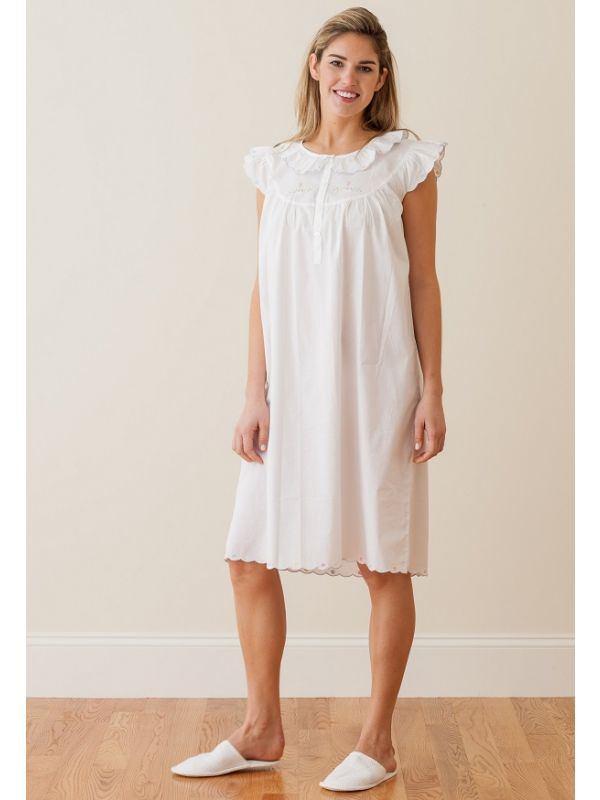 Angie White Cotton Nightgown** - EL301