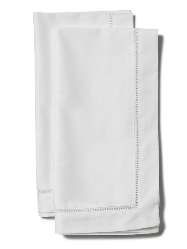 Dinner Napkins** - White Cotton With Hem Stitch (Set of 2)