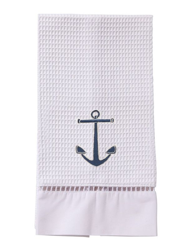 DG02-ANNA** Guest Towel, Waffle Weave - Anchor (Navy)