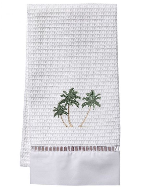 DG02-TPT** Guest Towel, Waffle Weave  - Three Palm Trees (Green)