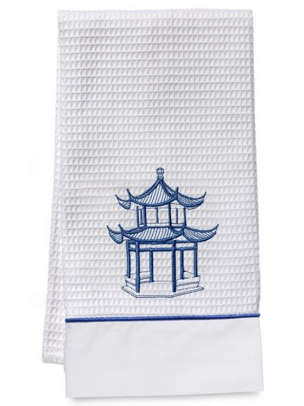 Guest Towel - White Waffle Weave, Satin Stitch, Embroidered
