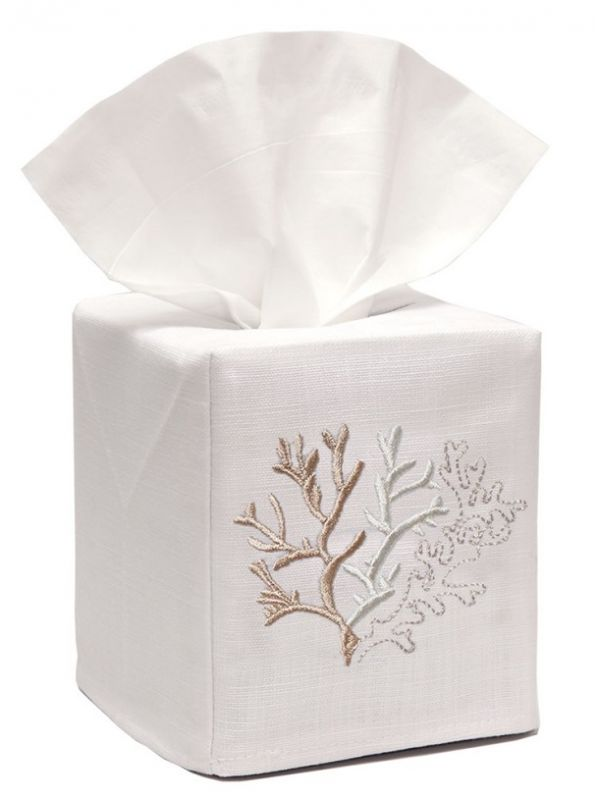 DG17-CLBE** Tissue Box Cover, Linen Cotton - Coral (Beige)