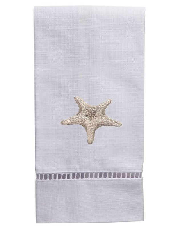 DG21-MSFBE** Guest Towel, White Linen & Satin Stitch - Morning Starfish (Beige)