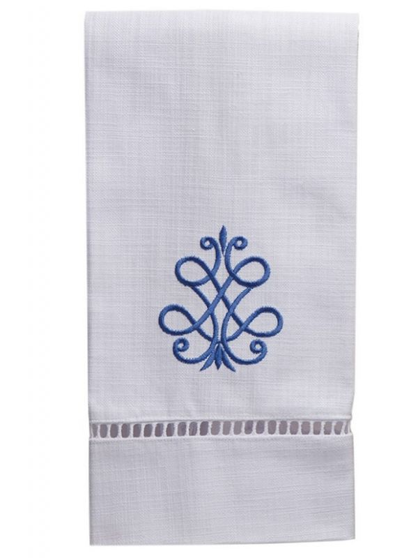 DG21-FSCB** Guest Towel, White Linen & Ladder Lace - French Scroll (Cobalt Blue)