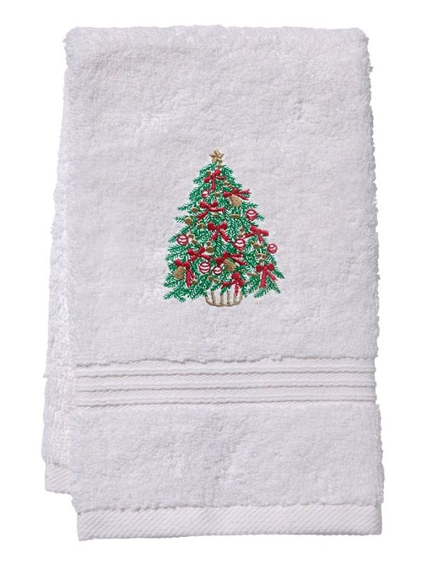 DG70-CTGR** Guest Towel, Terry - Christmas Tree (Green / Red)