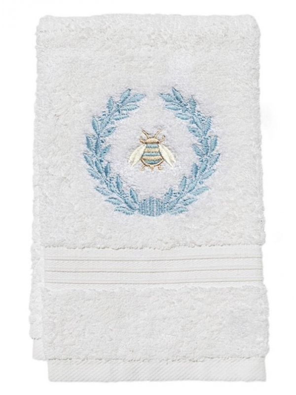 DG70-NBWDE** Guest Towel, Terry - Napoleon Bee Wreath (Duck Egg Blue)