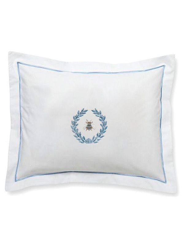 DG78-NBWDE** Boudoir Pillow Cover - Napoleon Bee Wreath (Duck Egg Blue)