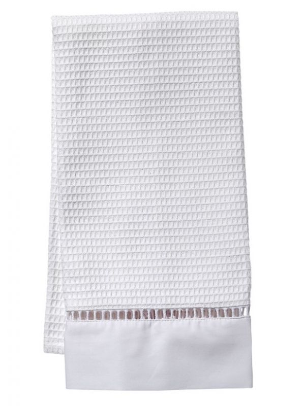 Guest Towel** - White Waffle Weave, Ladder Lace