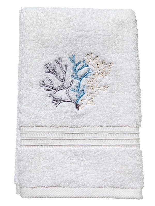 DG70-CLDE** Guest Towel, Terry - Coral (Duck Egg Blue)