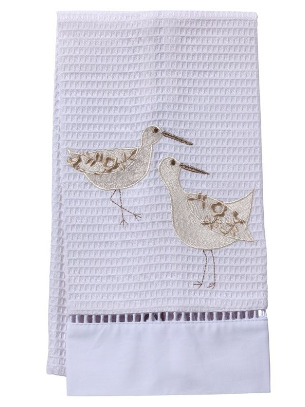 DG02-SPWCR** Guest Towel, Waffle Weave - Sandpipers (White/Cream)