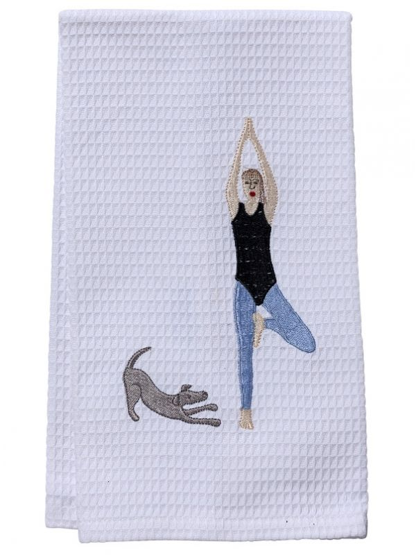DG03-DDY Guest Towel - Waffle Weave - Downward Dog Yoga Lady & Dog (Blue)
