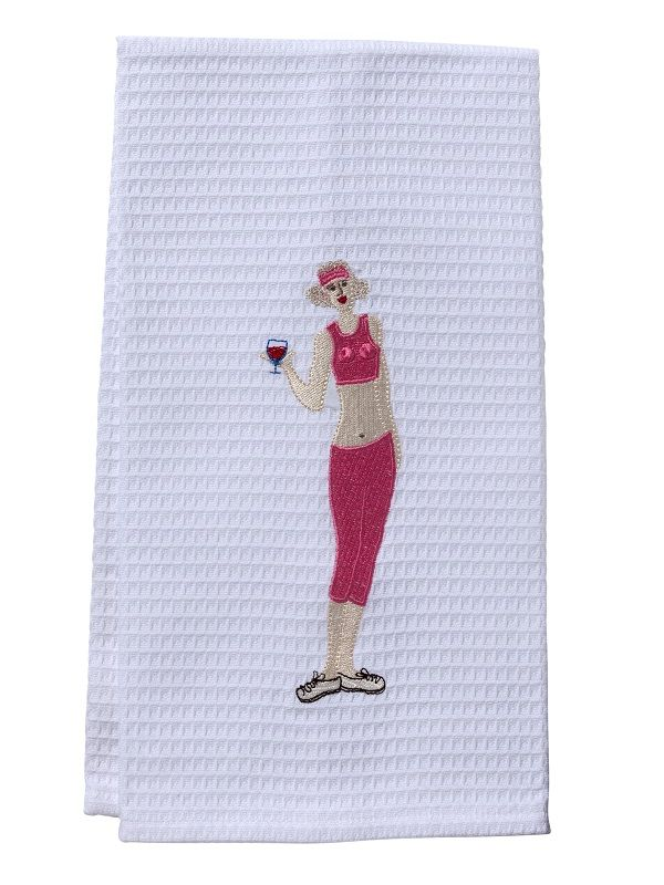 DG03-WWGPK Guest Towel - Waffle Weave - Wine Workout Girl (Pink)