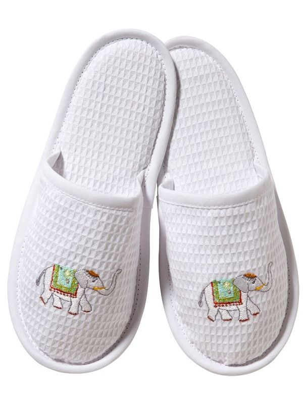 DG05-CEL Slippers, Waffle Weave - Charming Elephant