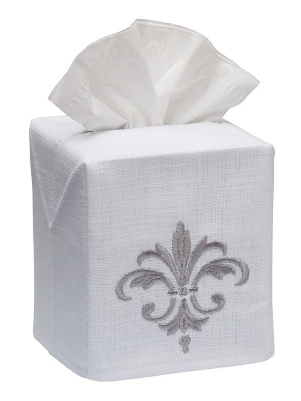 DG17-FDFPW Tissue Box Cover, Linen Cotton - Fleur de France (Pewter)