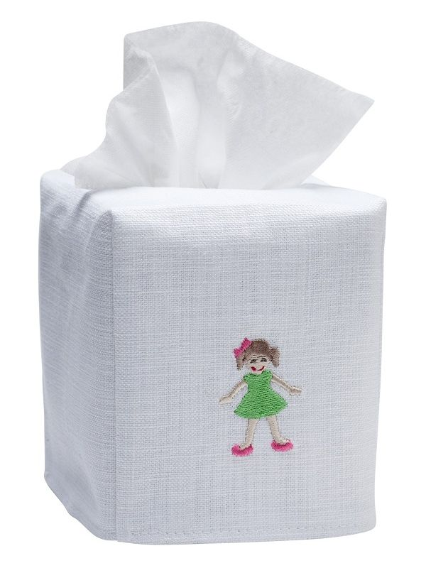 DG17-GIGR Tissue Box Cover, Linen Cotton - Girl in Green