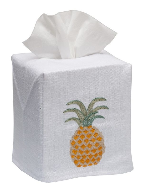 DG17-PIAP Tissue Box Cover, Linen Cotton - Pineapple
