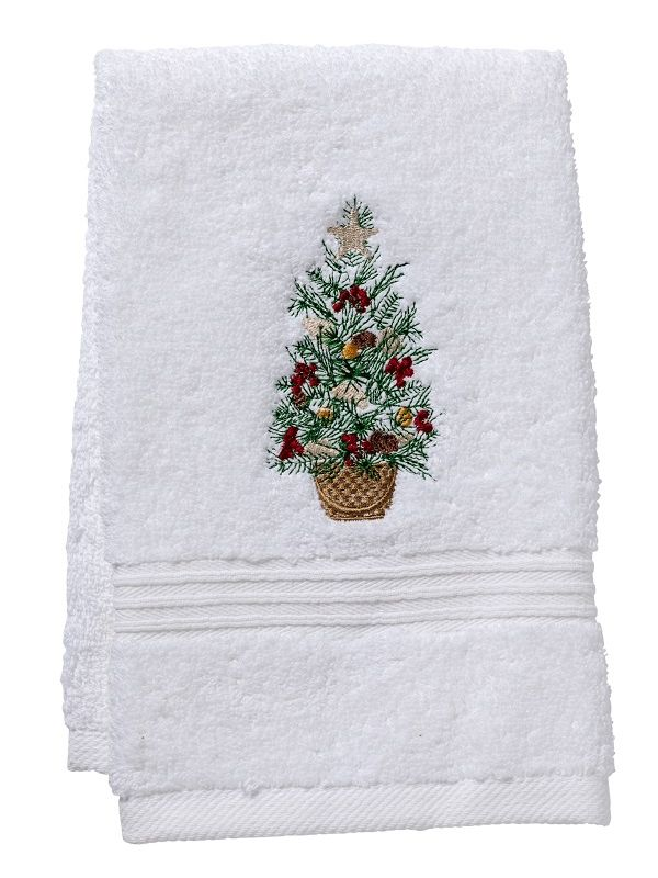 DG70-CTIB Guest Towel, Terry - Christmas Tree in Basket