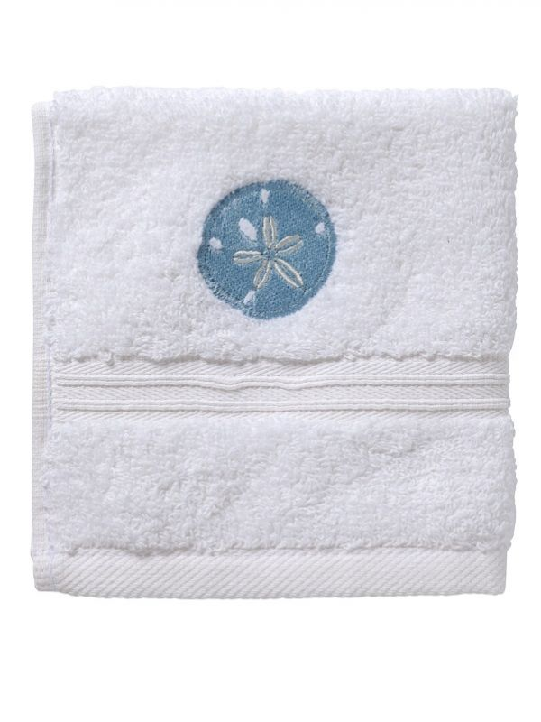 Hand Towel - White Cotton Terry, Embroidered