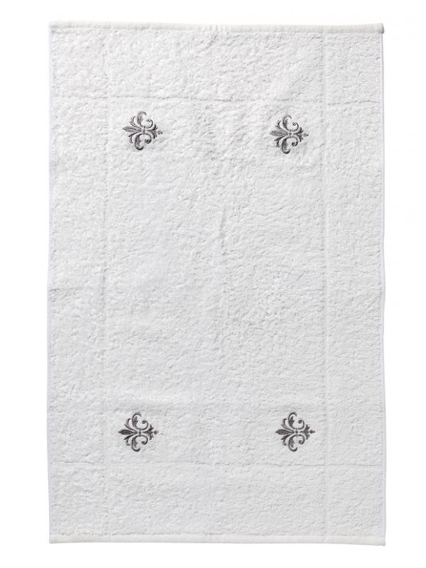 Bath Rug, White Cotton Terry , Embroidered