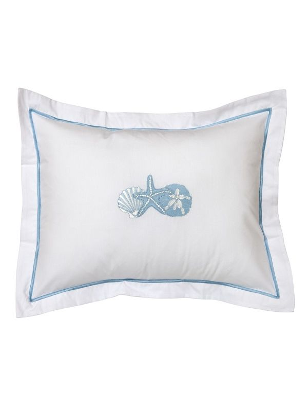DG78-SHTDE Boudoir Pillow Cover - Shell Trio (Duck Egg Blue)