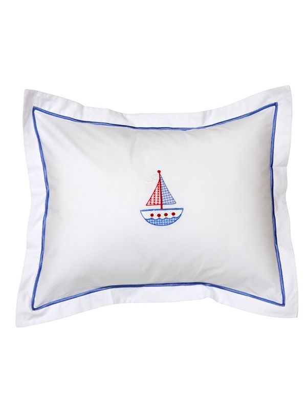 DG81-CSSBRW Baby Boudoir Pillow Cover - Cross Stitch Sailboat (Red, White)