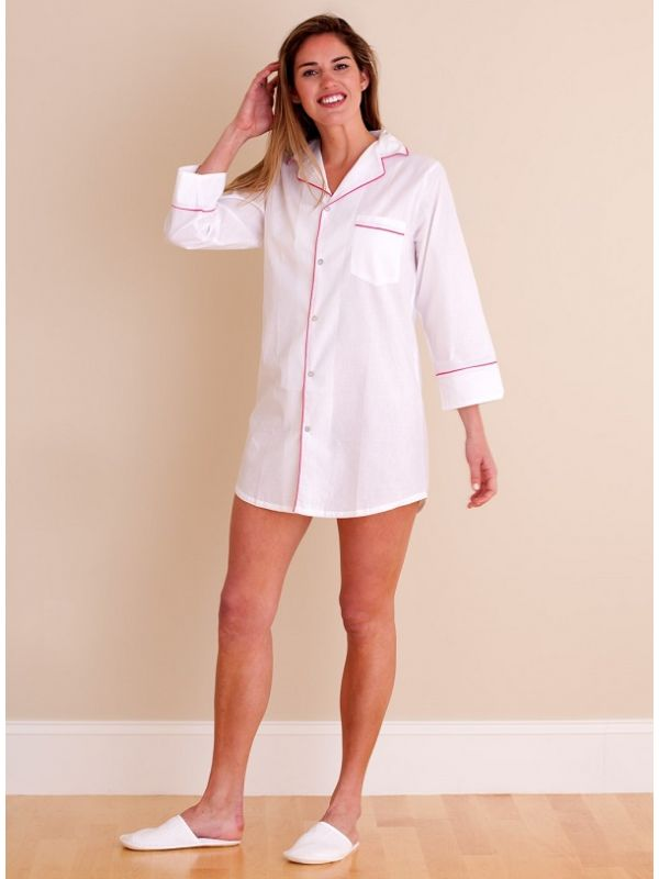 Sharon White Cotton Nightshirt, Raspberry Piping** - EL295