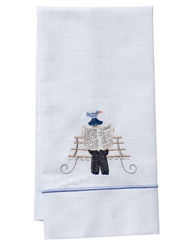 Guest Towel - White Linen, Satin Stitch, Embroidered