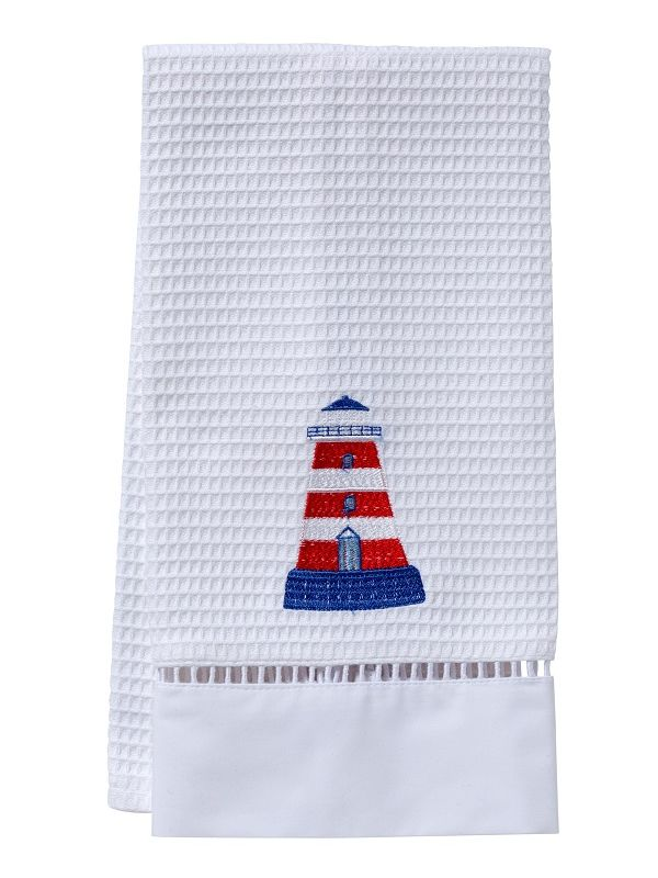 DG02-LHRW** Guest Towel, Waffle Weave  - Lighthouse (Red/White)