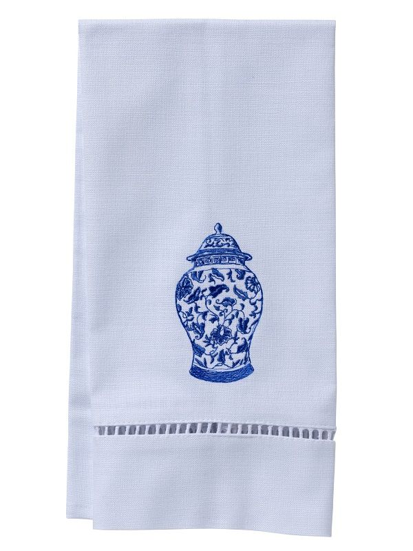 DG21-GJW** Guest Towel, White Linen & Ladder Lace - Ginger Jar (Wide)